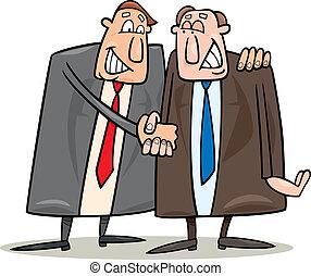 politics agreement - cartoon illustration of two politics...