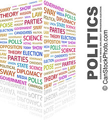 POLITICS. Background concept wordcloud illustration. Print...