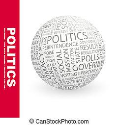 POLITICS. Background concept wordcloud illustration. Print concept word cloud. Graphic collage.