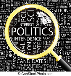 POLITICS. Background concept wordcloud illustration. Print concept word cloud. Graphic collage.