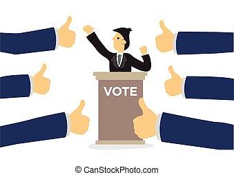 Politics candidate getting praises for presentation.