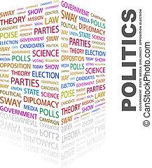 POLITICS. Background concept wordcloud illustration. Print...