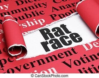 Politics concept: black text Rat Race under the piece of  torn paper
