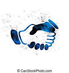 Politics concept: Handshake on Digital background