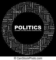 POLITICS. Concept illustration. Graphic tag collection. ...