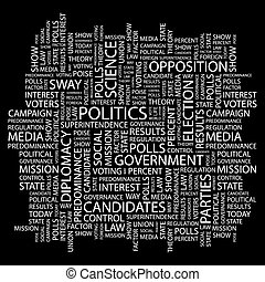 POLITICS. Concept illustration. Graphic tag collection....