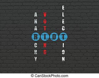 Politics concept: Riot in Crossword Puzzle