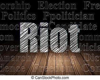 Politics concept: Riot in grunge dark room