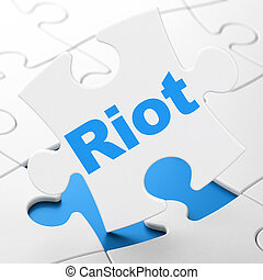 Politics concept: Riot on puzzle background