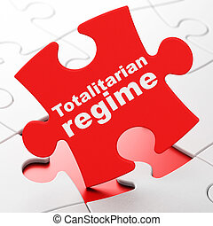 Politics concept: Totalitarian Regime on puzzle background -...