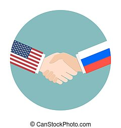 Politics concept with the United States of America and Russia