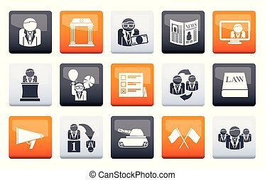 Politics, election and political party icons over color background