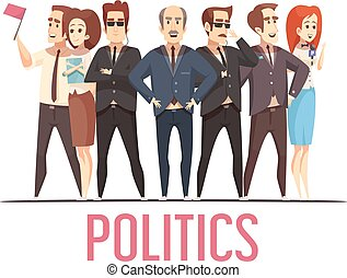 Politics Election People Cartoon Composition - Political...