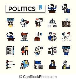 Politics filled outline icon set.