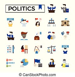 Politics flat icon set.