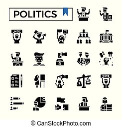 Politics glyph icon set.