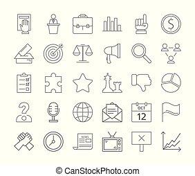 Politics icons set.