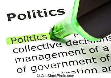 'politics', markerad, in, grön