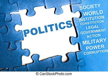 Politics puzzle - Politics blue puzzle pieces assembled