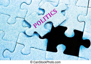 Politics puzzle - Politics piece of puzzle on top