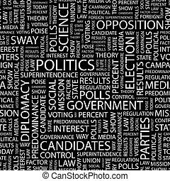 POLITICS. Seamless pattern. Word cloud illustration.