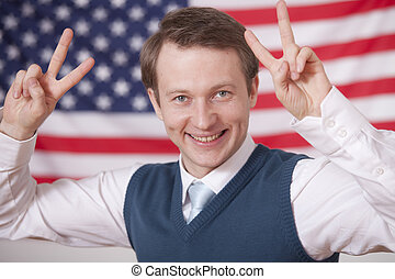 politics winner - politician with victory signs over...
