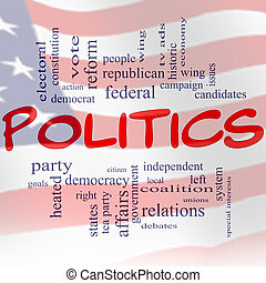 A red white and blue flag Politics Word Cloud Concept with great terms such as democracy, parties, federal, local, democrats, republicans and more