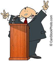 politicus, op, een, podium