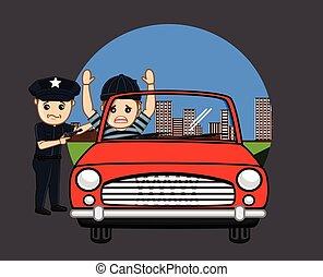 politie, arresteerde, dief, auto
