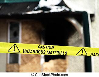 politie, gevaarlijk, gele, materialen, voorzichtigheid, ...