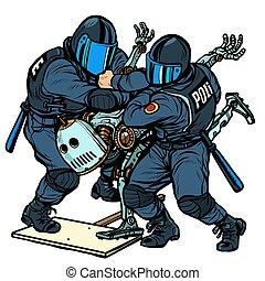 politie, het protesteren, robot, vecht, aanhouden, future.