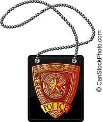 politie, ketting, leder, badge, illustratie, vector, houder