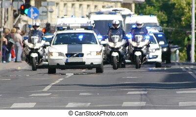 politie, -, konvooi, hd