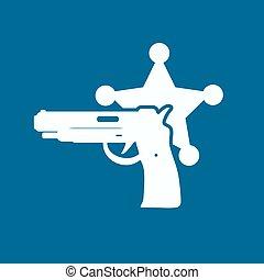 politie, moderne, vrijstaand, illustratie, vector, icon.