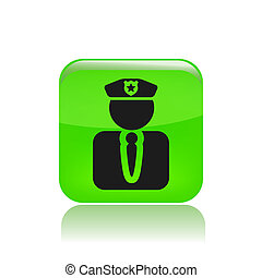 politie, moderne, vrijstaand, illustratie, vector, pictogram