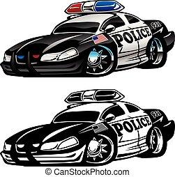 politie, muscle, auto, spotprent, vector, illustratie