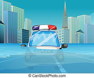 politie, onder, overstroming, auto