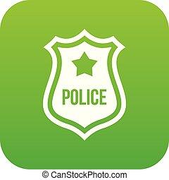 politie, pictogram, badge, groene, digitale