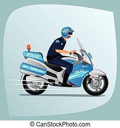 politie, politieagent, officier, paardrijden, of, motorfiets