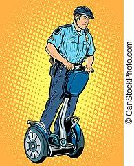 politie, scooter, patrouille, elektrisch