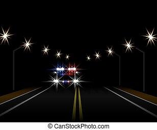 politie, straat, licht, abstract, illustratie, snelweg, effects., lichten, lampposts., nacht, front., auto