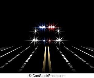 politie, straat, licht, abstract, illustratie, snelweg, effects., lichten, straat., nacht, front., auto