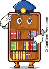 politie, studeren, naast, boekenkast, bureau, mascotte