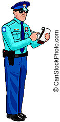 politie, ticket, -, officier, parkeren