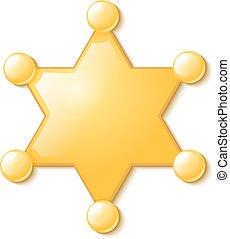 politie, usa., sheriff, symbool, star., vrijstaand, patrol., achtergrond., enkel, witte