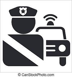politie, vrijstaand, illustratie, enkel, vector, pictogram