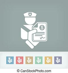 politieagent, boete, pictogram