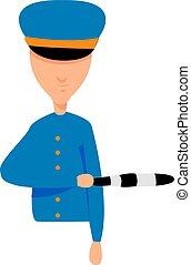 politieagent, illustratie, witte , vector, achtergrond.