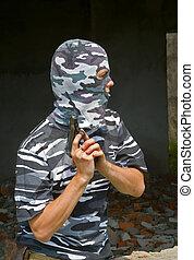 politieagent, in, masker, 8