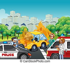 politieagent, ongeluk, scène, ambulance, straat